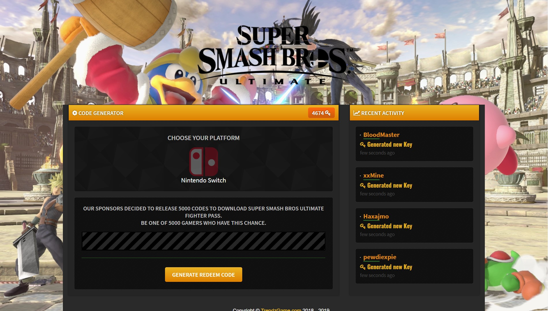 Super Smash Bros Ultimate Fighter Pass Code