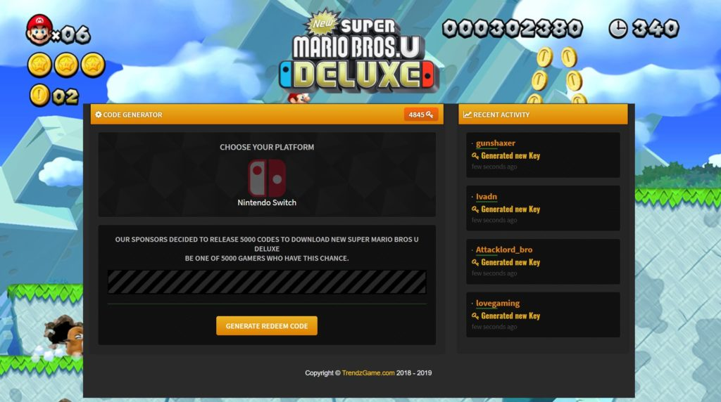 Super Mario Bros U Deluxe Switch Code