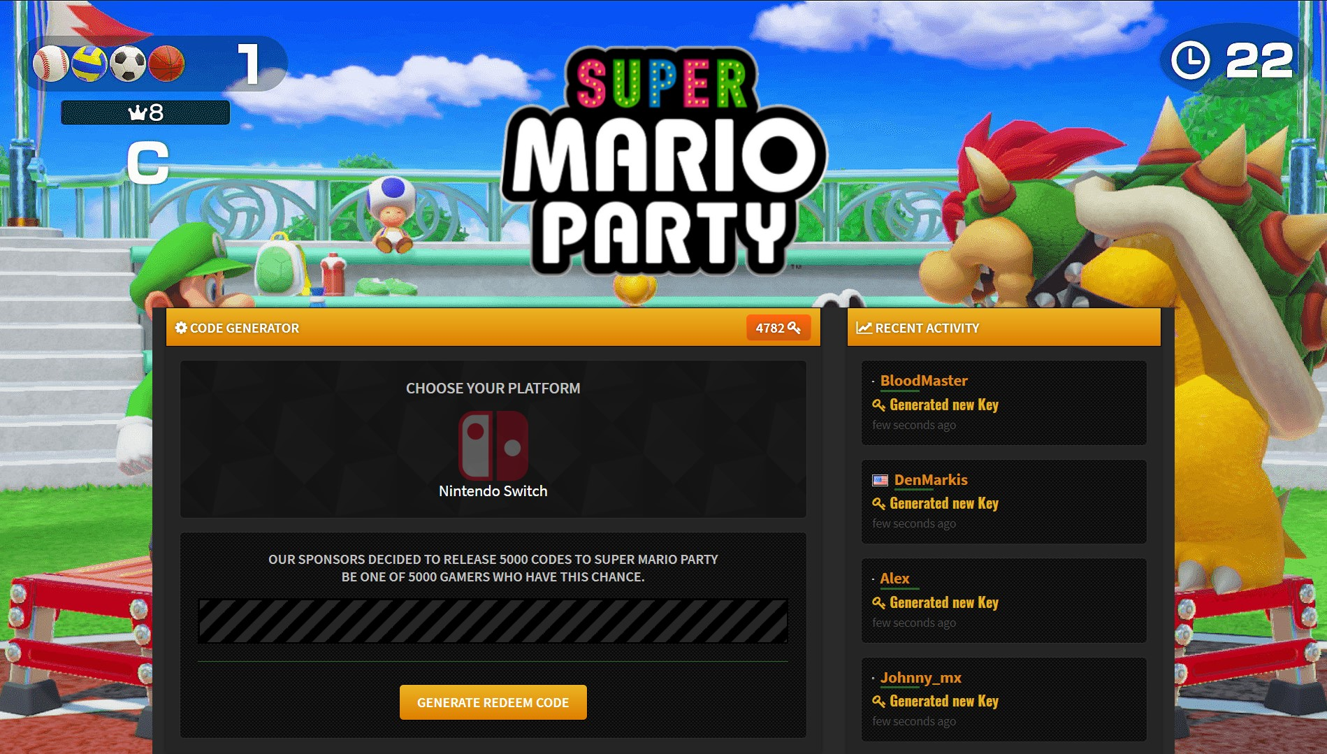 Super Mario Party Switch Code
